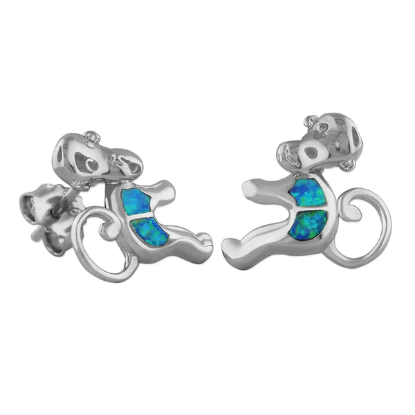 Sterling Silver Synthetic Blue Opal Monkey Stud Earrings