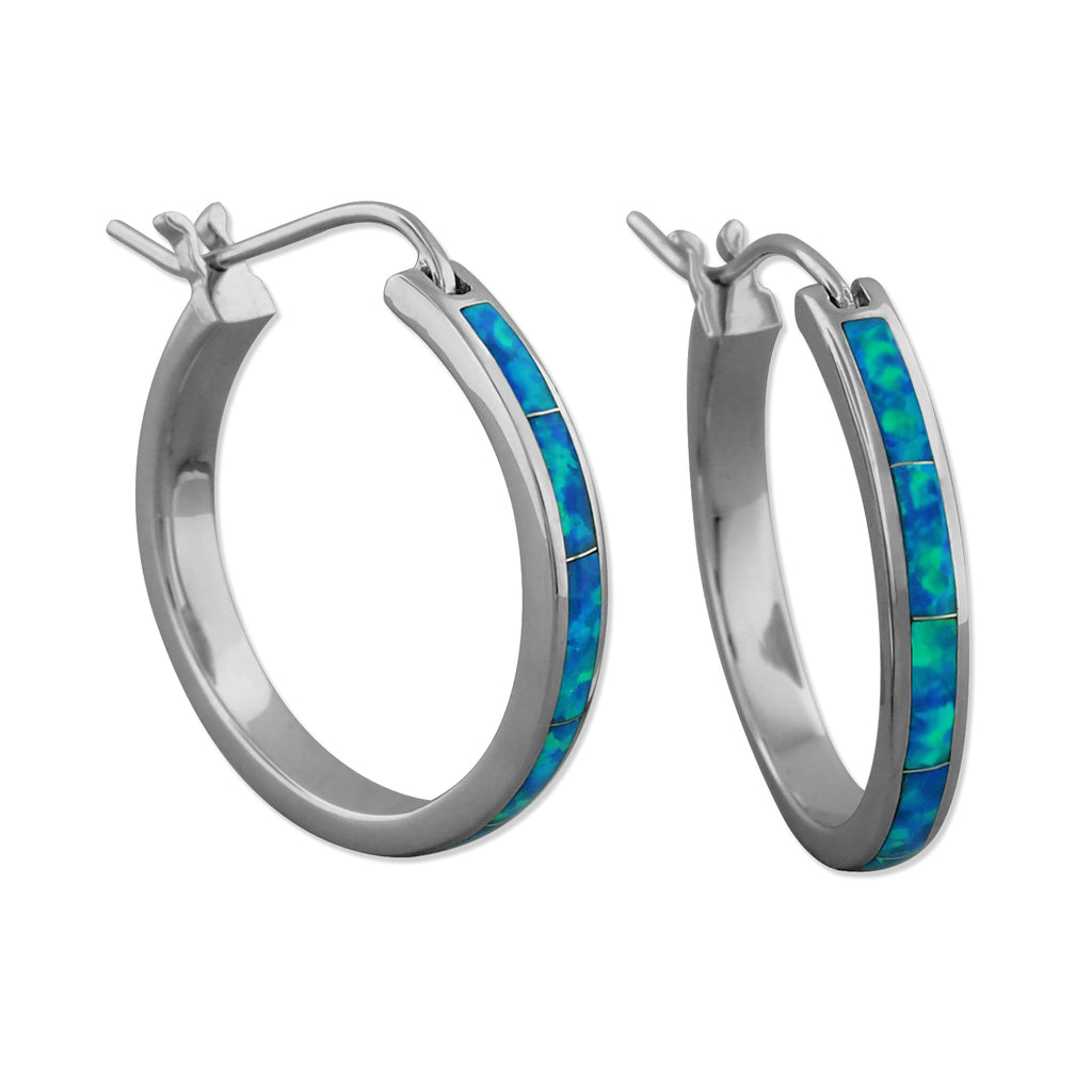 Sterling Silver Synthetic Blue Opal Hoop Earrings 1 Inch
