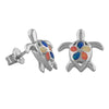 Sterling Silver Synthetic Opal Turtle Plumeria Stud Earrings