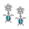 Sterling Silver Synthetic Blue Opal Turtle Plumeria Dangle Earrings