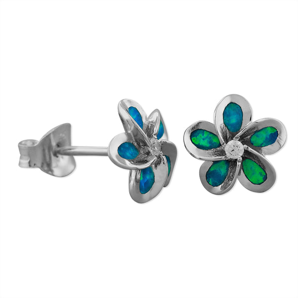 Sterling Silver Synthetic Blue Opal 8mm Plumeria Earrings