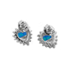 Sterling Silver Synthetic Blue Opal Heart Stud Earrings