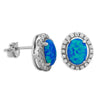 Sterling Silver Synthetic Blue Opal Oval Stud Earrings