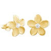 Sterling Silver 9mm Plumeria Stud Earrings