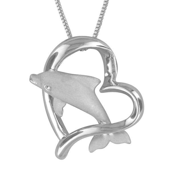 Sterling Silver w/ Yellow Gold Plated Accents Dolphin in Heart Pendant Necklace, 16+2