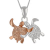Sterling Silver Turtle Pals BFF Pendant Necklace, 16+2