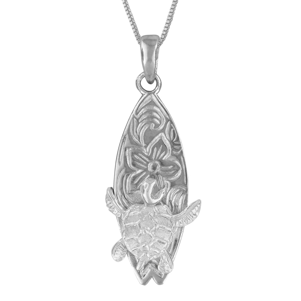 Sterling Silver Surfs Up Turtle Surfboard Pendant Necklace, 16+2
