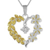 Sterling Silver Plumeria Maile Heart Pendant Necklace, 16+2