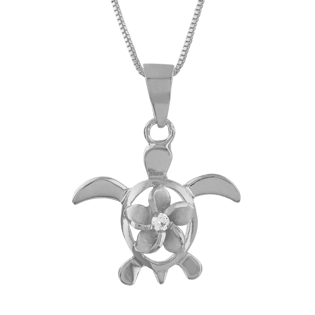 Sterling Silver Turtle Plumeria Pendant Necklace, 18