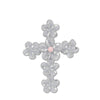 Sterling Silver Pink Plumeria Cross Pendant