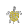 Sterling Silver with 14kt Yellow Gold Plated Accents Sea Turtle Small Moving Pendant