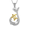 Sterling Silver Turtle Fish Hook Pendant Necklace, 16+2