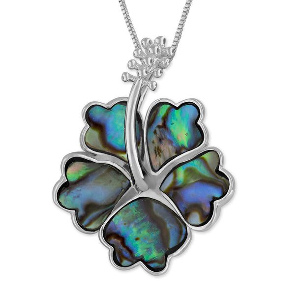 Sterling Silver Abalone Shell Hibiscus 19mm Pendant Necklace, 16+2