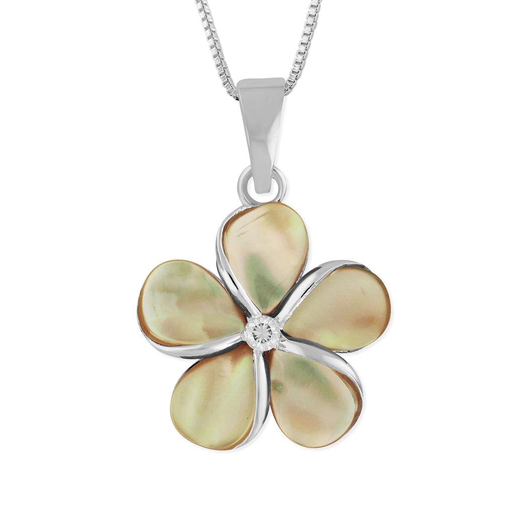 Sterling Silver with Mother of Pearl Plumeria Pendant Necklace, 16+2