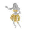 Sterling Silver Hula Girl Chain Skirt Pendant
