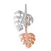 Hawaiian Silver Jewelry Sterling Silver Double Monstera Dangle Pendant