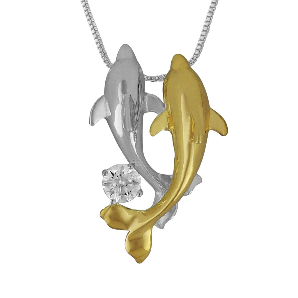 Sterling Silver with 14kt Yellow Gold Plated Accents Double Dolphin Pendant Necklace, 16+2