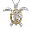 Sterling Silver Turtle Plumeria Pendant Necklace, 16+2