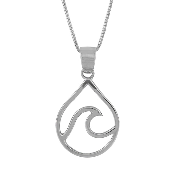 Sterling Silver Water Drop Wave Pendant Necklace, 16+2