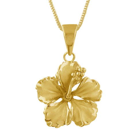 14kt Yellow Gold Plated Sterling Silver 17mm Hibiscus Pendant Necklace, 16+2