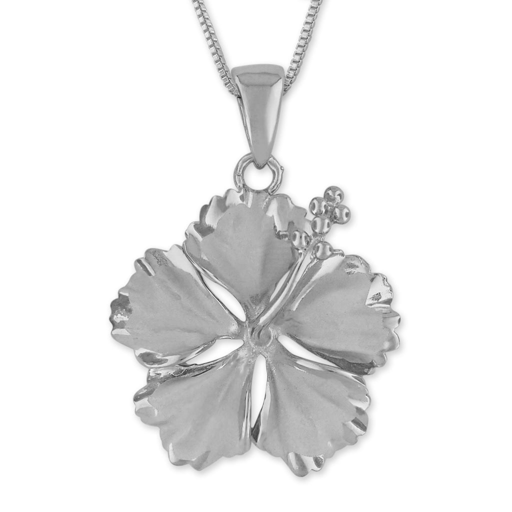 Sterling Silver 23mm Hibiscus Pendant Necklace, 16+2
