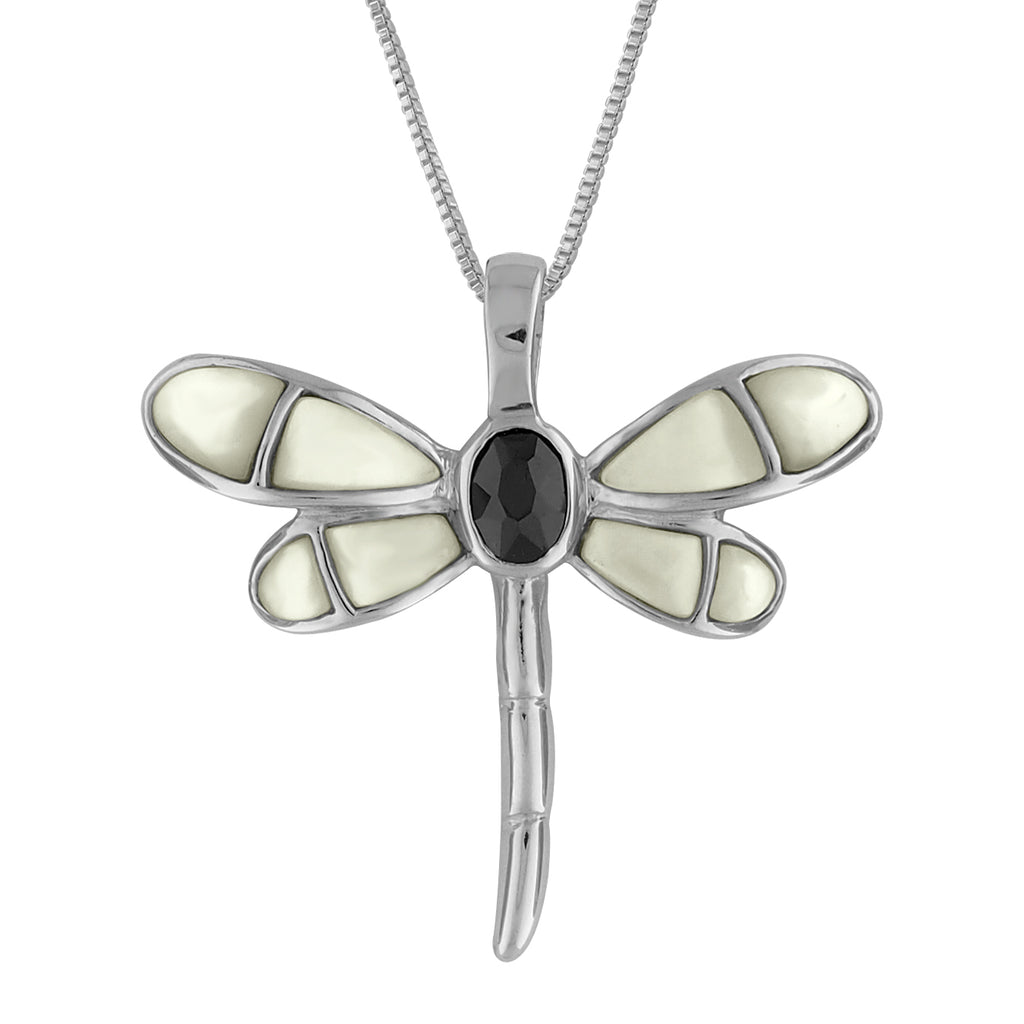 Sterling Silver Black Synthetic CZ Mother of Pearl Dragonfly Pendant Necklace, 16+2