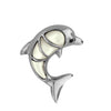 Sterling Silver Black Synthetic CZ Mother of Pearl Dolphin Pendant