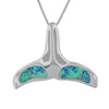 Sterling Silver Synthetic Blue Opal Whale Tail Pendant Necklace, 16+2
