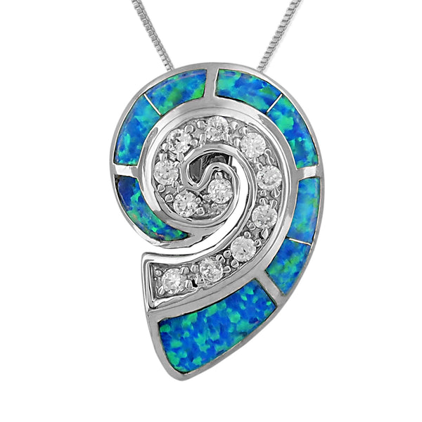 Sterling Silver Synthetic Blue Opal Nautilus Shell Pendant Necklace, 16+2