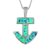 Sterling Silver Synthetic Blue Opal Anchor Pendant Necklace, 16+2