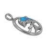 Sterling Silver Synthetic Blue Opal Dolphin Circle Pendant Necklace, 16+2