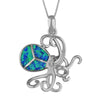 Sterling Silver Synthetic Blue Opal Octopus Pendant Necklace, 16+2