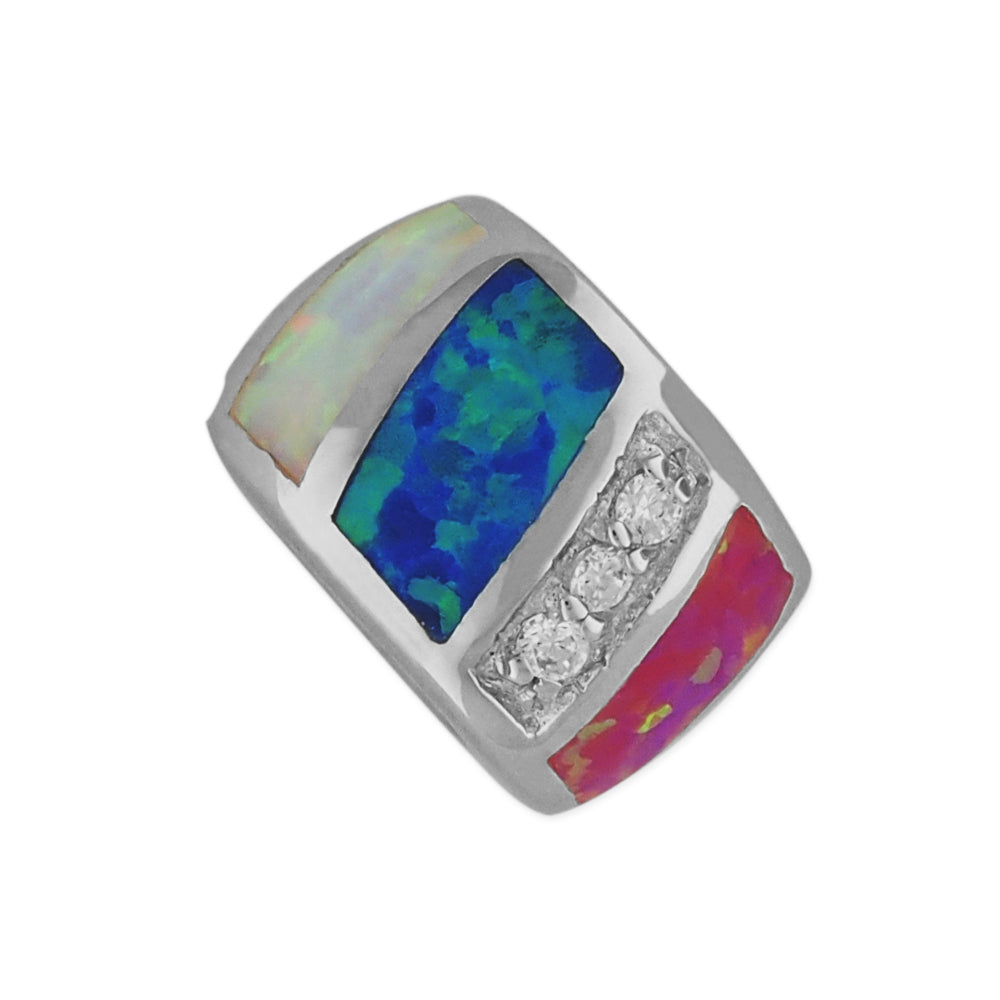 Sterling Silver Synthetic Opal Bead Barrel Charm/Pendant