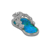 Sterling Silver Synthetic Blue Opal Plumeria Flip Flop Pendant Necklace, 16+2