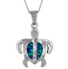 Sterling Silver Synthetic Blue Opal Engraved Turtle Pendant Necklace, 16+2