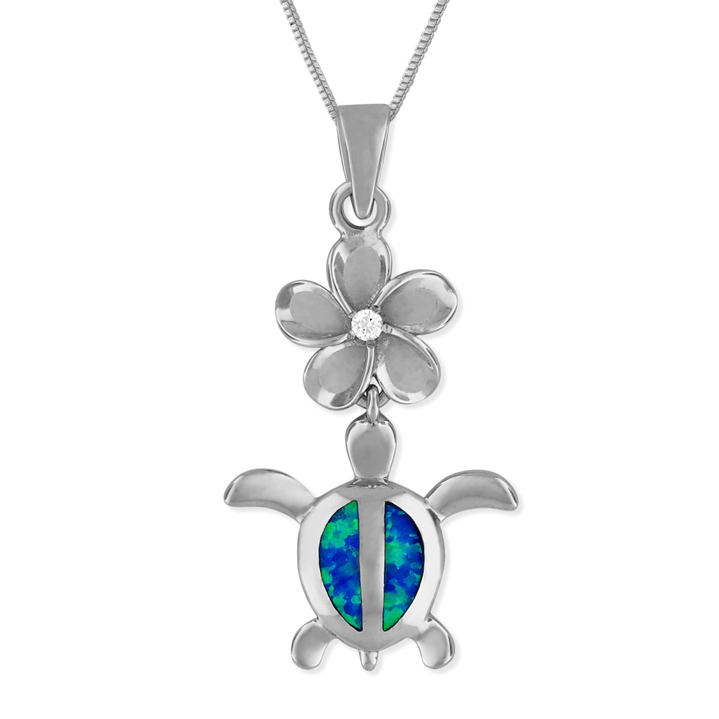 Sterling Silver Synthetic Blue Opal Turtle Plumeria Pendant Necklace, 16+2