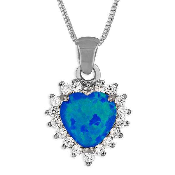 Sterling Silver Synthetic Blue Opal Heart Pendant Necklace, 18+2