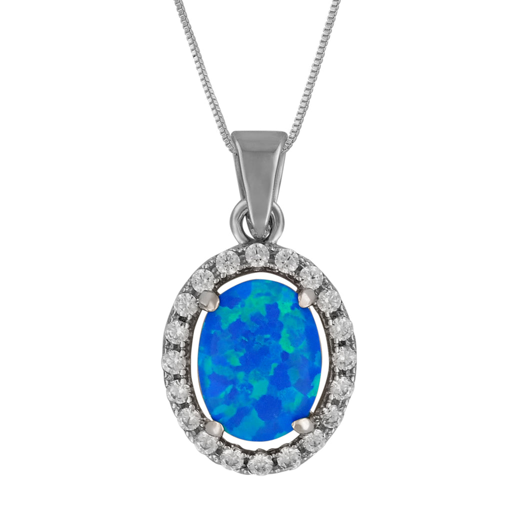 Sterling Silver Synthetic Blue Opal Oval Pendant Necklace, 16+2
