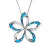 Sterling Silver Synthetic Blue Opal Open Plumeria Pendant Necklace, 16+2