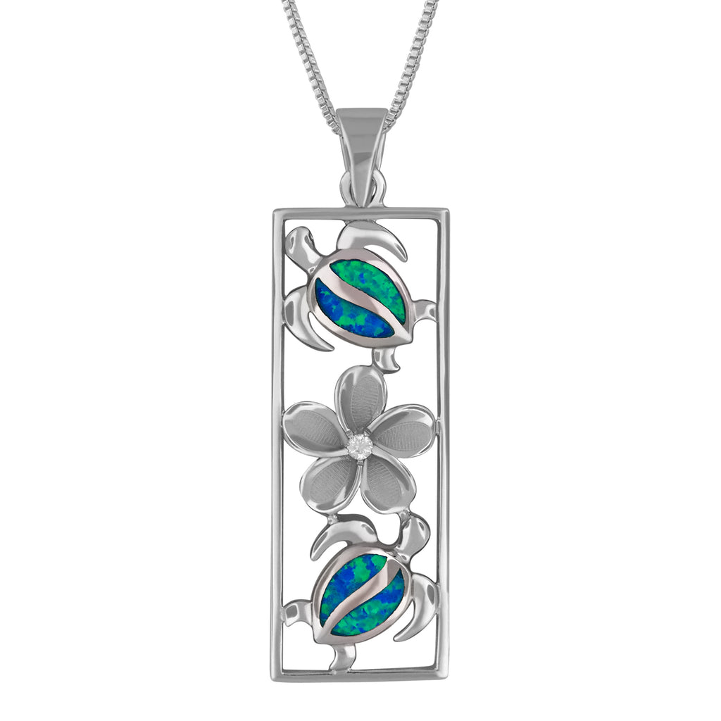 Sterling Silver Synthetic Blue Opal Vertical Turtle and Plumeria Pendant Necklace, 16+2