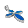 Sterling Silver Synthetic Blue Opal Cross Pendant Necklace, 16+2