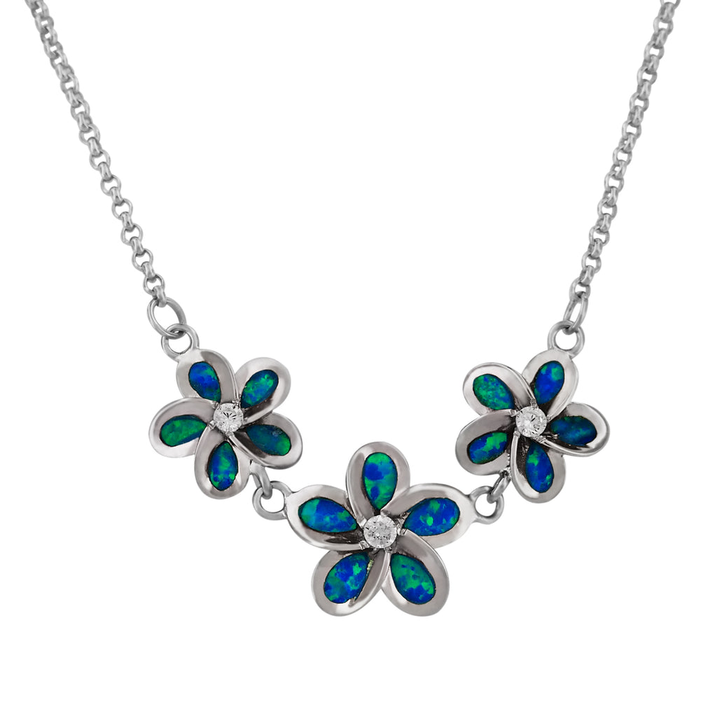 Sterling Silver Synthetic Blue Opal Three Plumeria Pendant Necklace, 18