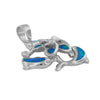 Sterling Silver Synthetic Blue Opal Dolphin Plumeria Pendant Necklace, 16+2