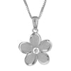 Sterling Silver 15mm Plumeria Pendant Necklace, 16+2