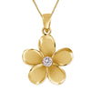 Sterling Silver 19mm Plumeria Pendant Necklace, 16+2