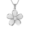 Sterling Silver 23mm Plumeria Pendant Necklace, 16+2