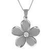 Sterling Silver 27mm Plumeria Pendant Necklace, 16+2