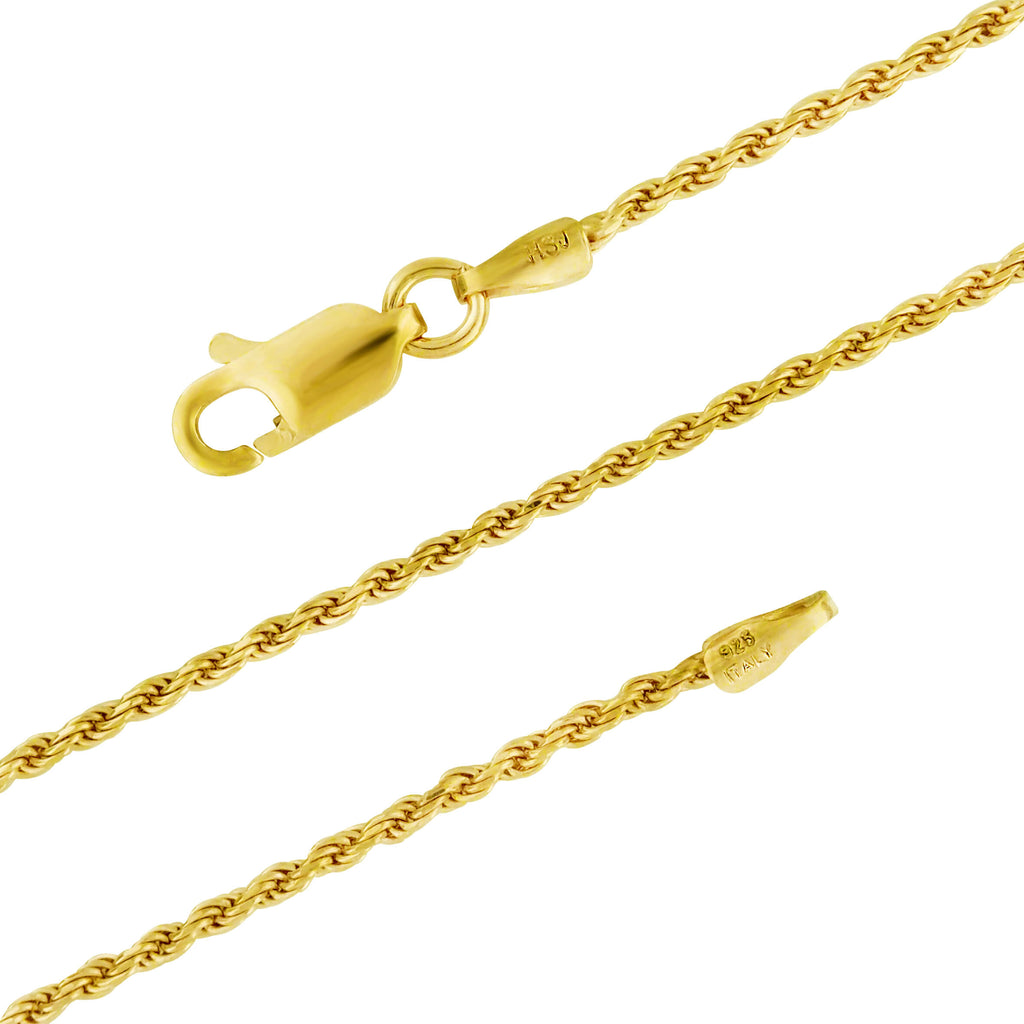 14kt Yellow Gold Plated Sterling Silver 1.3mm Diamond-Cut Rope Chain Necklace Nickel-Free, 14-36-inch