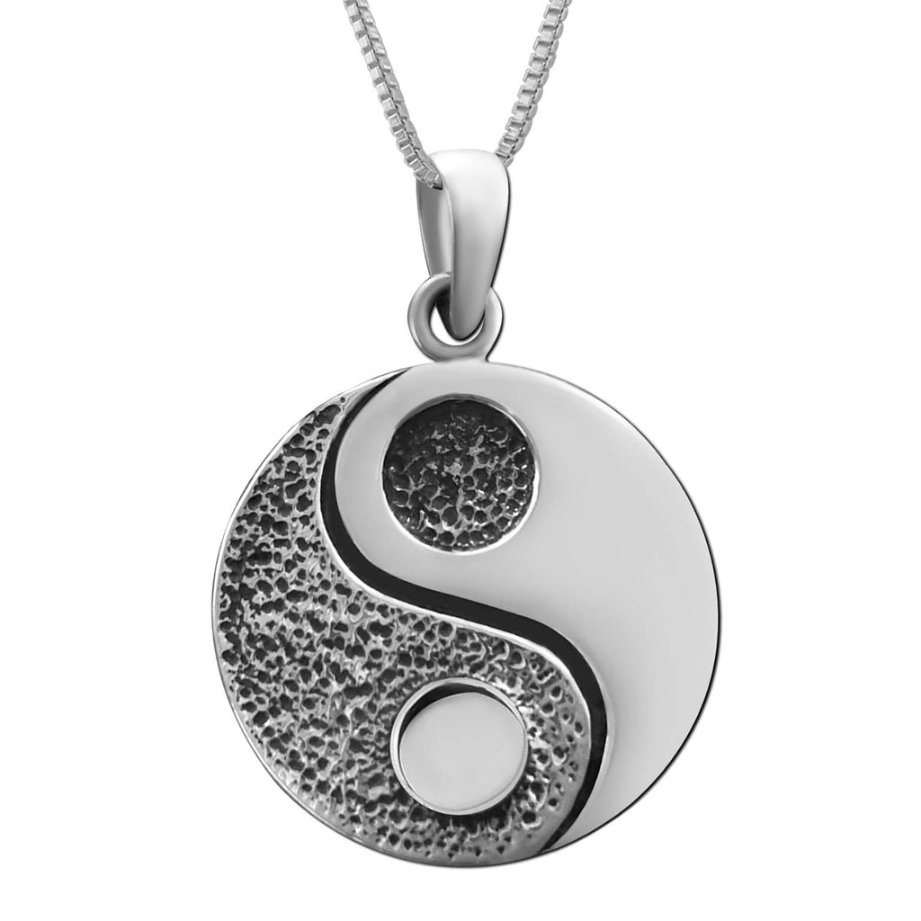 Sterling Silver Yin Yang Pendant Necklace, 18