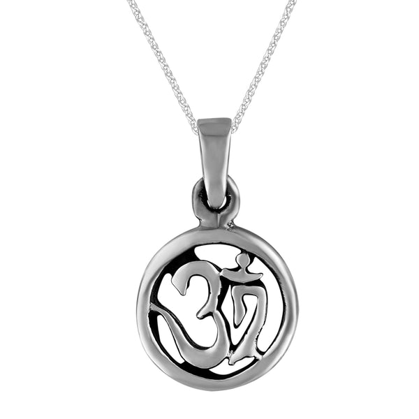 Sterling Silver X-Small Circle Yoga Om Ohm Pendant Necklace, 18